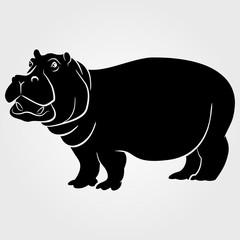 Hippopotamus icon on a white background