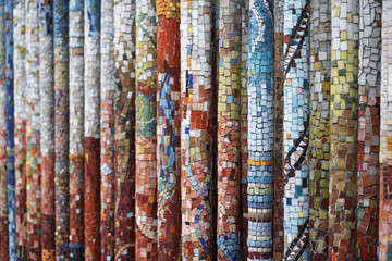 columns with colorful tesserae