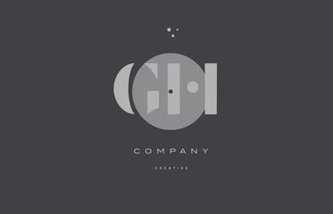 gh g h  grey modern alphabet company letter logo icon