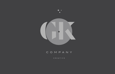 gk g k  grey modern alphabet company letter logo icon