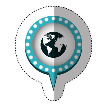 sticker with circular speech with blue contour with dotted and tail and world map vector illustration