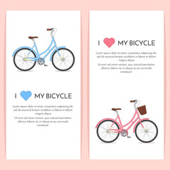 Blue and pink retro bicycle with basket isolated on white background.