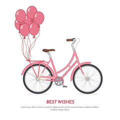 Pink retro bicycle withballoons attached to the trunk Flat vector illustration