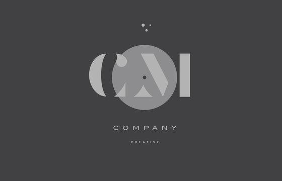 cm c m  grey modern alphabet company letter logo icon