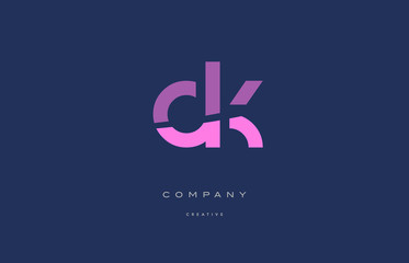 dk d k  pink blue alphabet letter logo icon