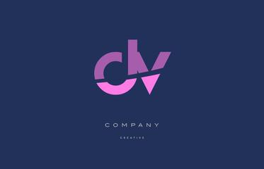 dv d v  pink blue alphabet letter logo icon