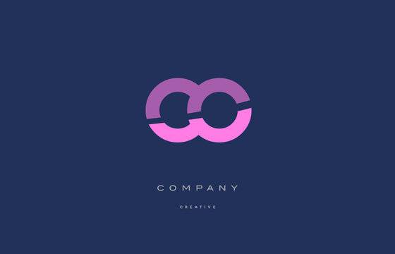 co c o  pink blue alphabet letter logo icon