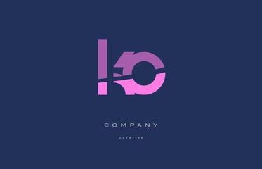Obraz ko k o  pink blue alphabet letter logo icon - fototapety do salonu