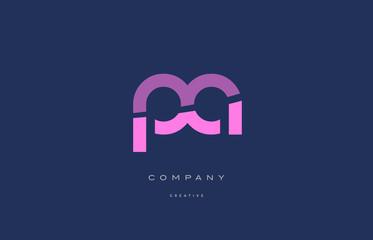 Obraz pa p a  pink blue alphabet letter logo icon - fototapety do salonu