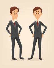 Office worker man character set. Vector flat cartoon illustration