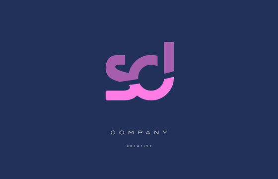 sd s d  pink blue alphabet letter logo icon