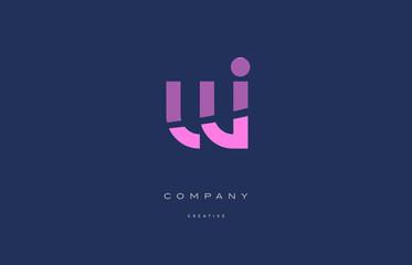 Fototapeta wi w i  pink blue alphabet letter logo icon obraz