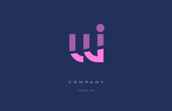 wi w i  pink blue alphabet letter logo icon