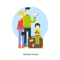 Family travel. A young family goes on vacasion. Vector flat illustration.