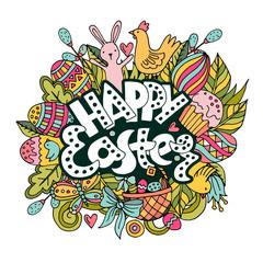 Cartoon vector hand drawn Doodle Happy Easter illustration.
