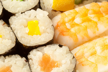 wonderful macro details of a delicious sush