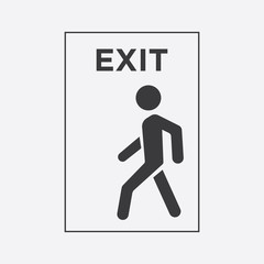 Wall Mural - man black icon. exit icon.line style