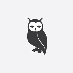 black silhouette of an owl. Vector illustration