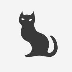 Black silhouette of cat. Vector illustration