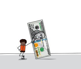 Personnage qui tient un billet de 100 dollars