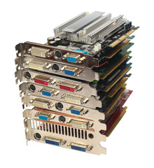 Stack of pc video adapters and graphic cards, isolated on white background.