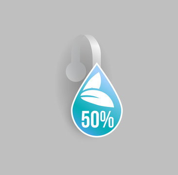Vector blue water drop shape wobbler mockup with transparent strip and grey background. Sale message template for your hanging shelf tag design.