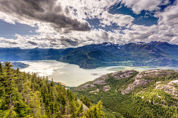 Howe Sound landscape from the summit of the Sea to Sky gondola, British Columbia, Canda