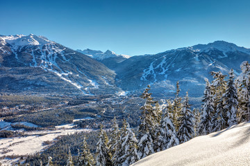 Whistler Blackcomb Mountains in Winter after a fresh snowfall on a sunny blue sky day. British Columbia, Canada Fototapete