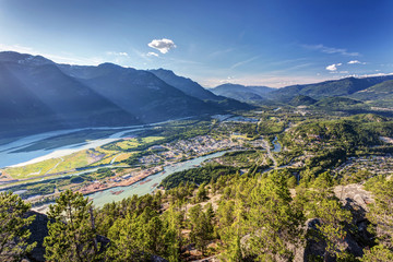 Squamish town from the summit of the stawamus chief, British Combia, Canada