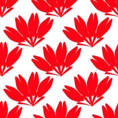 grandi corolle di fiori rossi su sfondo bianco