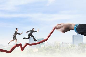 Climbing up to success . Mixed media
