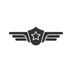 Pilot label icon. Silhouette symbol. Negative space. Shield with wings insignia vector isolated illustration.