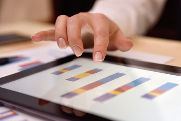 Tablet with financial charts