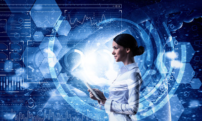 Woman using modern technologies . Mixed media