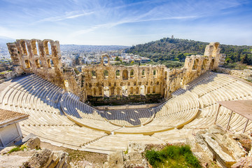 Acrylic Prints Athens ruins of ancient theater of Herodion Atticus, HDR from 3 photos