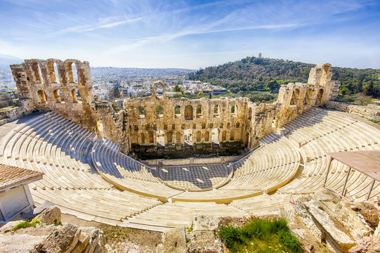 ruins of ancient theater of Herodion Atticus, HDR from 3 photos, Athens, Greece, Europe
