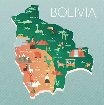 Vector illustration map of Bolivia with nature, animals and people in traditional clothes. Flat design style