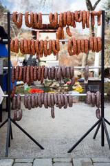 homemade sausages on display