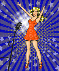 Vector pop art illustration of beautiful girl singer on stage