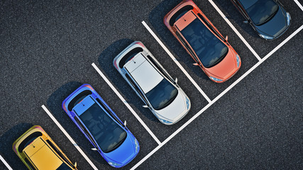 cars in parking lot. 3d rendering
