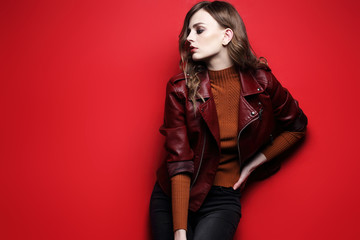 fashion model  beautiful young woman. leather jacket, studio shot Wall mural