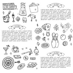 Hand drawn doodle set of Casino icons. Vector illustration set. Cartoon Gambling symbols. Sketchy game elements collection: bet, jackpot, cards, chips, coins, darts, roulette, poker, money, slot.