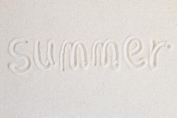 """""""Summer"""" words written on the beach"""