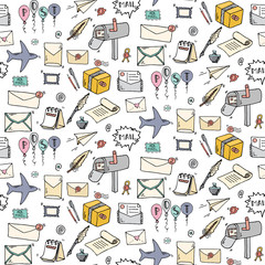 Seamless pattern Hand drawn doodle Postal elements icon set. Vector illustration. Isolated post symbols collection. Cartoon mail element: letter, envelope, stamp, post box, package, delivery truck