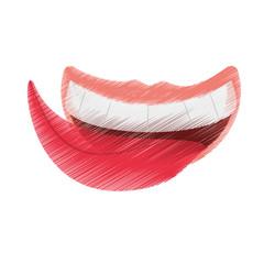 drawing april fools mouth tongue vector illustration eps 10
