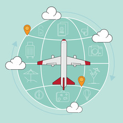 Traveling airplane and icon vector illustration.