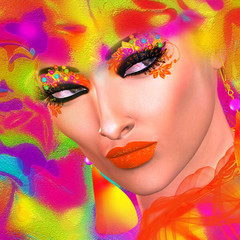 Face of beautiful woman in 3d render. Colorful makeup and abstract background create modern portrait.