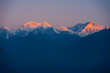 Kangchenjunga Himalaya Mountain Range Sunrise seen from Darjeeling
