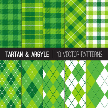 Golf Fashion Seamless Patterns in Green Argyle, Tartan and Gingham Plaid. Set of Sports Theme or St Patrick's Day Backgrounds. Vector Pattern Tile Swatches Included.