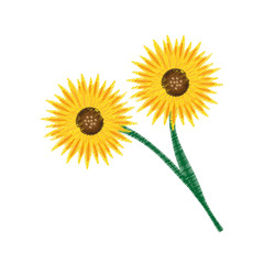 drawing bouquet sunflower beuty vector illustration eps 10